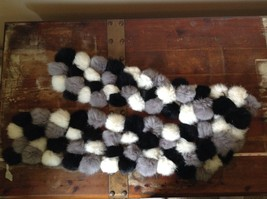 Gray White and Black Rabbit Fur Ball  Shaped Attached with Strings Scarf image 6