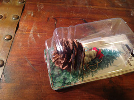 Gray Wolf Pine Cone Pet Ornament with Christmas Scarf Real Pine Cone image 3