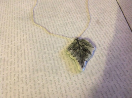 Green Gray Fern Leaf Ceramic Handmade Pendant Necklace Sterling Silver Chain image 2
