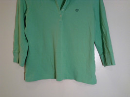 Green IZOD Size M Three Quarter Length Sleeves Collared Polo Top image 3