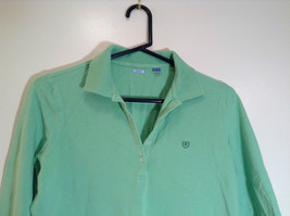 Green IZOD Size M Three Quarter Length Sleeves Collared Polo Top image 2