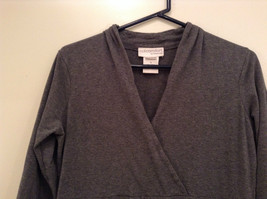 Gray V Neck Long Sleeve Real Comfort by Chadwicks Long Dress Size Medium image 3