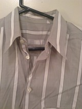 Gray and White Striped Button Up Shirt Chest Pocket NO TAGS Measurements Below image 2