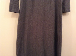 Gray V Neck Long Sleeve Real Comfort by Chadwicks Long Dress Size Medium image 5