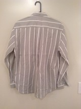 Gray and White Striped Button Up Shirt Chest Pocket NO TAGS Measurements Below image 4