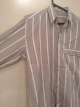Gray and White Striped Button Up Shirt Chest Pocket NO TAGS Measurements Below image 3