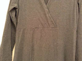 Gray V Neck Long Sleeve Real Comfort by Chadwicks Long Dress Size Medium image 4