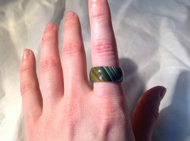 Green White Banded Agate Natural Stone Wide Band Ring Size 8.25 image 2