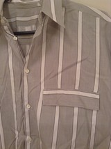 Gray and White Striped Button Up Shirt Chest Pocket NO TAGS Measurements Below image 5