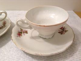 Four Piece Vintage Gilded Teacup and Saucer Set Floral Pattern Bone China image 6
