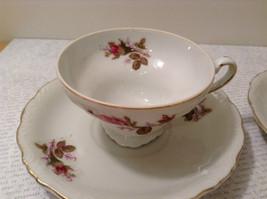 Four Piece Vintage Gilded Teacup and Saucer Set Floral Pattern Bone China image 4