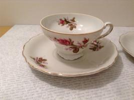 Four Piece Vintage Gilded Teacup and Saucer Set Floral Pattern Bone China image 3