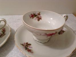 Four Piece Vintage Gilded Teacup and Saucer Set Floral Pattern Bone China image 5