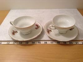 Four Piece Vintage Gilded Teacup and Saucer Set Floral Pattern Bone China image 8