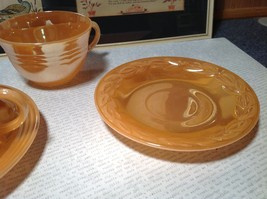 Four Piece Set of Cups and Saucers Made in USA Peach Colored The King Oven Ware image 4
