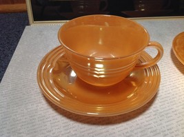 Four Piece Set of Cups and Saucers Made in USA Peach Colored The King Oven Ware image 2