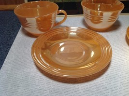 Four Piece Set of Cups and Saucers Made in USA Peach Colored The King Oven Ware image 5