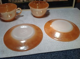Four Piece Set of Cups and Saucers Made in USA Peach Colored The King Oven Ware image 6