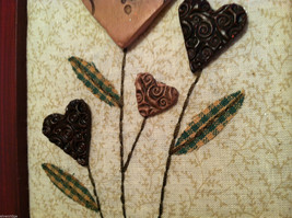 """Framed Basket of Wooden Heart Flowers with """"XOXOXO"""" tag wall art image 4"""