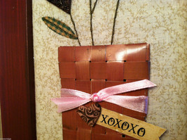 """Framed Basket of Wooden Heart Flowers with """"XOXOXO"""" tag wall art image 5"""