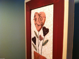 """Framed Basket of Wooden Heart Flowers with """"XOXOXO"""" tag wall art image 7"""
