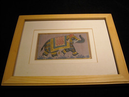 Framed Asian Indian Elephant Painting on Silk image 2