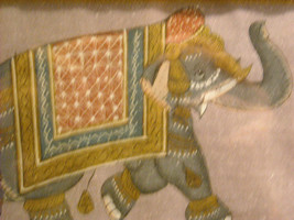 Framed Asian Indian Elephant Painting on Silk image 3