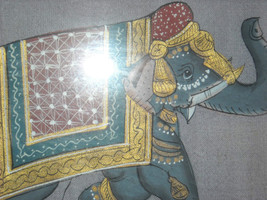 Framed Asian Indian Elephant Painting on Silk image 5