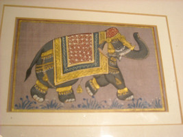 Framed Asian Indian Elephant Painting on Silk image 8