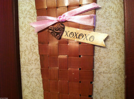 """Framed Basket of Wooden Heart Flowers with """"XOXOXO"""" tag wall art image 6"""