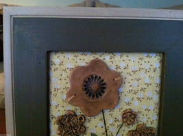 "Framed 3D Flowers in Basket with Stitching detail wall art - ""Bloom"" tag image 2"