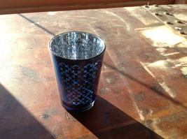 Four Piece Vintage Style Mercury Glass Candle Holders Orange Green Blue Black image 2