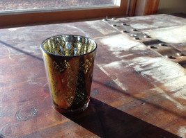 Four Piece Vintage Style Mercury Glass Candle Holders Orange Green Blue Black image 3