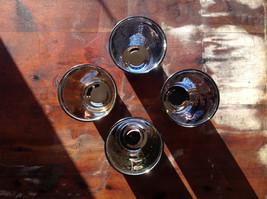 Four Piece Vintage Style Mercury Glass Candle Holders Orange Green Blue Black image 7