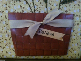 "Framed Basket of Wooden Flowers with ""Believe"" tag wall art image 4"