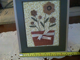 "Framed Basket of Wooden Flowers with ""Believe"" tag wall art image 7"
