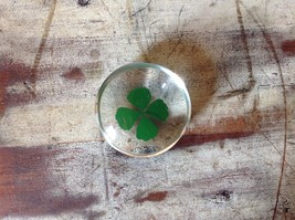 Four Leaf Clover Inside Clear Touch Stone image 2