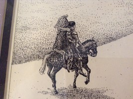 Framed Pen Art by Wendy Lewis Made in 1981 Nobles Walking Toward a Castle image 4