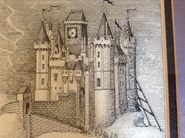 Framed Pen Art by Wendy Lewis Made in 1981 Nobles Walking Toward a Castle image 6