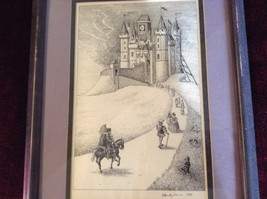 Framed Pen Art by Wendy Lewis Made in 1981 Nobles Walking Toward a Castle image 3