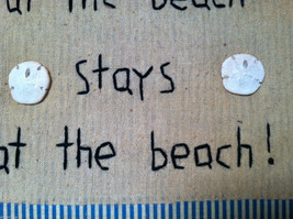 """Framed """"What Happens at the Beach..."""" Embroidered Beach House wall art w shells image 5"""