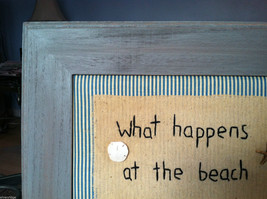 """Framed """"What Happens at the Beach..."""" Embroidered Beach House wall art w shells image 2"""