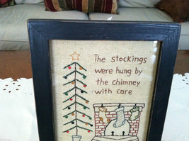 """Framed """"The Stockings Were Hung by the Chimney..."""" Stitched Christmas Decor image 2"""