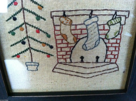 """Framed """"The Stockings Were Hung by the Chimney..."""" Stitched Christmas Decor image 4"""