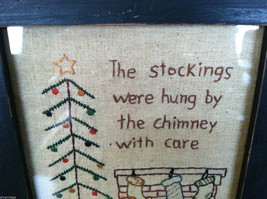 """Framed """"The Stockings Were Hung by the Chimney..."""" Stitched Christmas Decor image 3"""