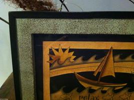 Framed Relax Sun  Waves Sailboat Paper Cutting Wall Decor Scherenschnitte image 2