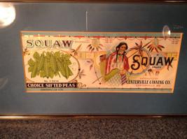 Framed Vintage Squaw Brand Peas Can Label Novelty Historic Measurements Below image 2