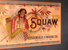 Framed Vintage Squaw Brand Peas Can Label Novelty Historic Measurements Below image 4