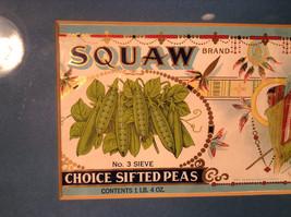 Framed Vintage Squaw Brand Peas Can Label Novelty Historic Measurements Below image 3