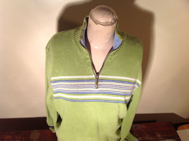 Green with Stripes Hollister Sweater Zip Neck Closure Light Blue Accents Size L image 2
